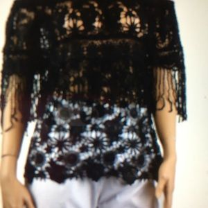 Tops - White off the shoulders blouse with lace.